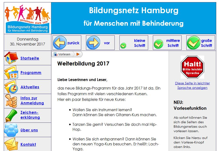 Internetseite Bildungsnetz Hamburg