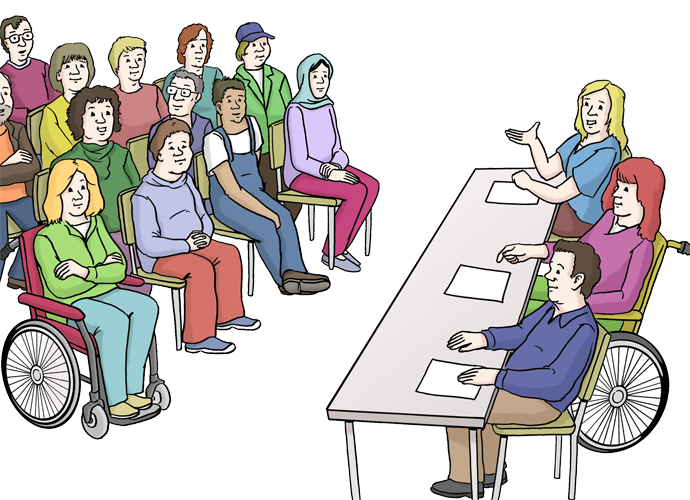 Grafik: 3 Personen halten einen Vortrag, viele Menschen sitzen im Publikum