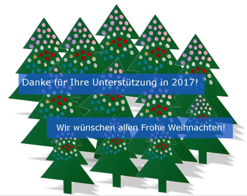 Tannenbäume, Text: Danke für Ihre Unterstützung in 2017!