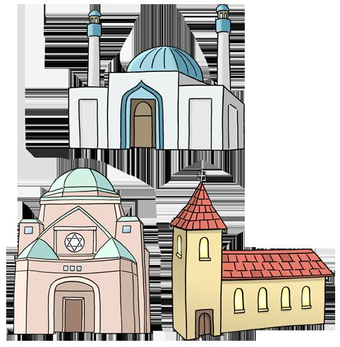 Kirche, Moschee, Synagoge