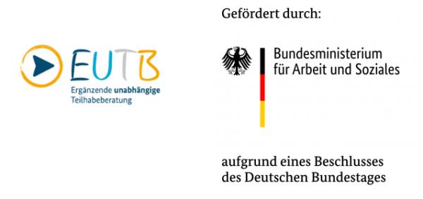 Logo: EUTB, Gefördert durch das Bundesministerium für Arbeit und Soziales