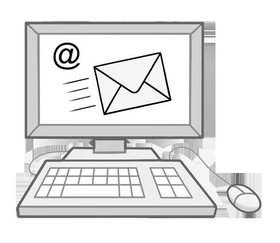 Grafik: Computer. Auf Bildschrim @-Zeichen und Briefumschlag