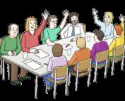 Grafik: Gruppe sitzt um einen Tisch, einige Personen strecken den Arm nach oben