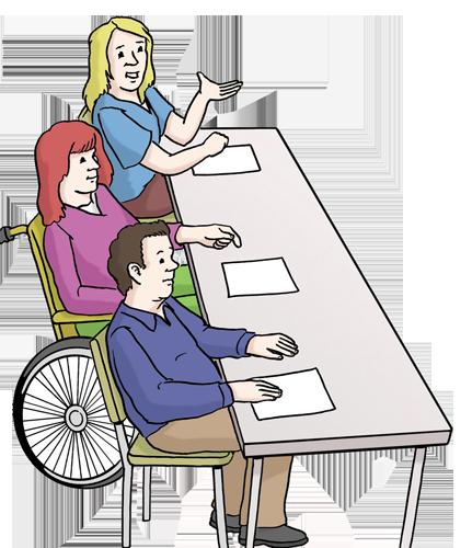 Grafik: 3 Personen sitzen auf einer Seite eines langen Tisches