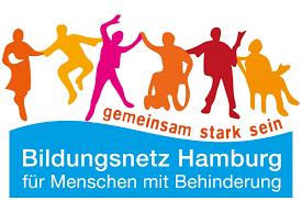 Zeichnung: Menschen feiern, Text: gemeinsam stark, Bildungsnetz Hamburg für Menschen mit Behinderung