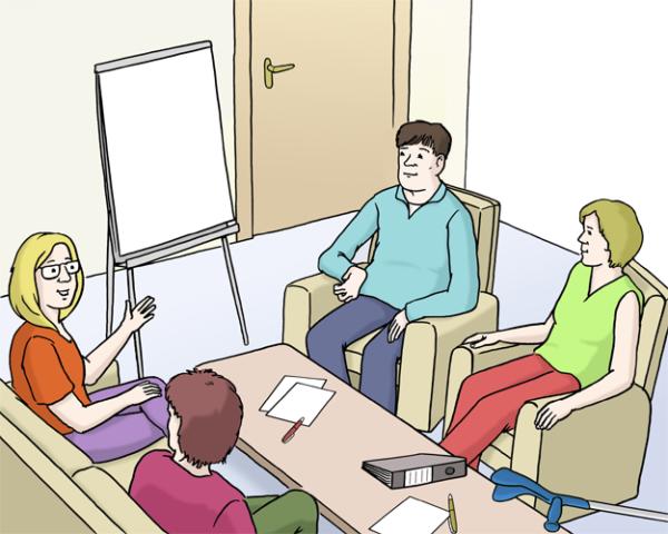 4 Menschen sitzen zusammen und reden
