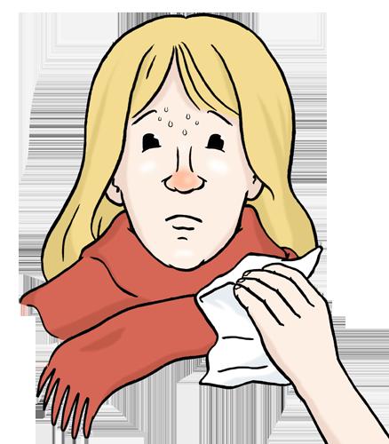 Zeichnung: Frau mit Schal und roter Nase