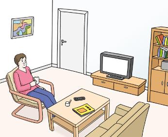 Grafik: Ein Mensch sitzt im Wohnzimmer