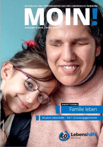Blinde Frau mit Mädchen auf Titelbild der MOIN