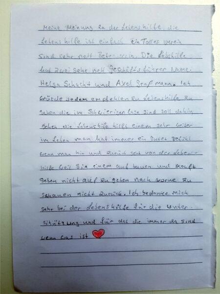 Brief: Meine Meinung zur Lebenshilfe Seite 2