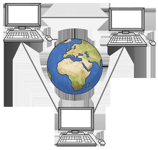 Weltkugel umgeben von Computern