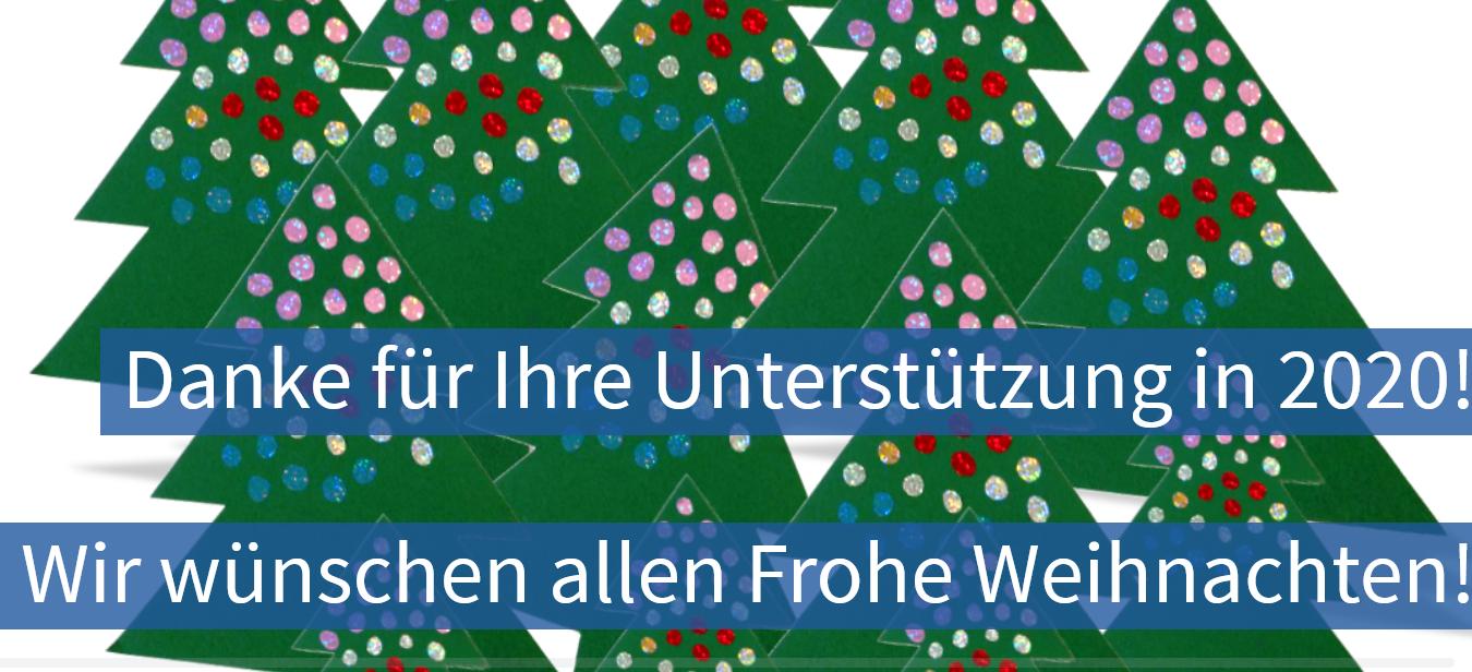 Weihnachtsbäume, Text: Danke für Ihre Unterstützung in 2020! Wir wünschen allen Frohe Weihnachten!