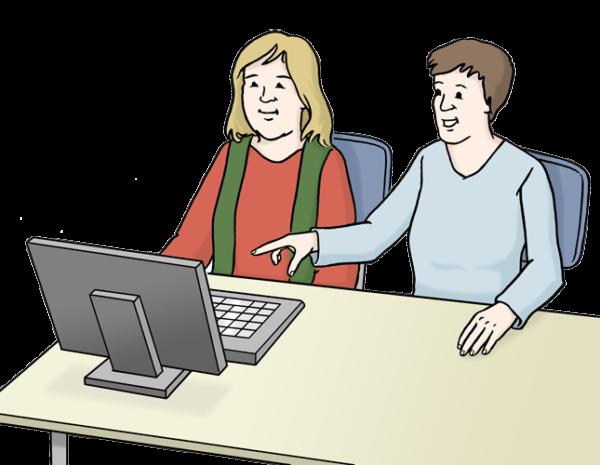 Grafik: 2 Frauen sitzen zusammen am Schreibtisch vor einem Computer. Eine der Frauen zeigt auf den Bildschirm.