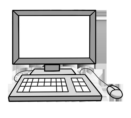 Grafik: PC Bildschirm, Tastatur und Maus