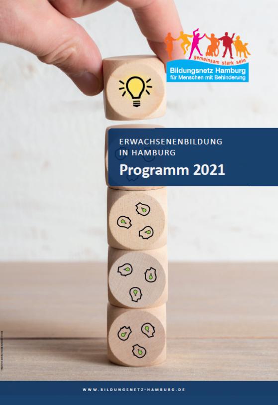 Turm aus Würfeln, Text: Erwachsenenbildung in Hamburg Programm 2021