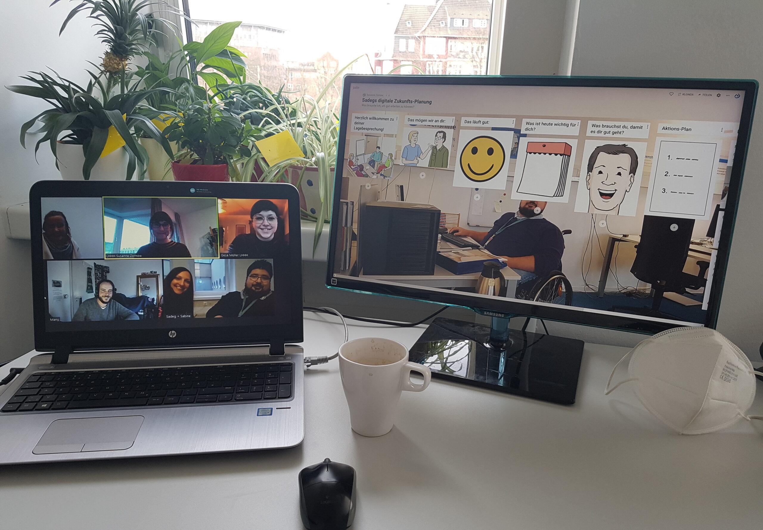 Laptop mit Videokonferenz