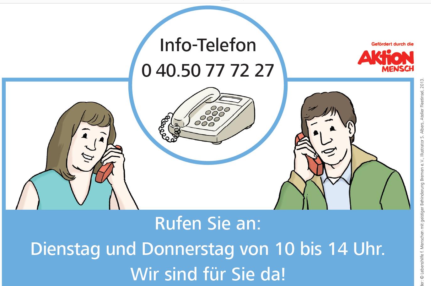 Grafik: zwei Menschen telefonieren, Info-Telefonnummer. 04050777227