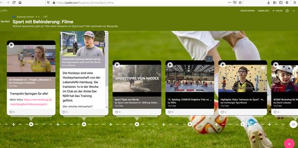 Computerbildschirm: Padlet zum Thema Sport
