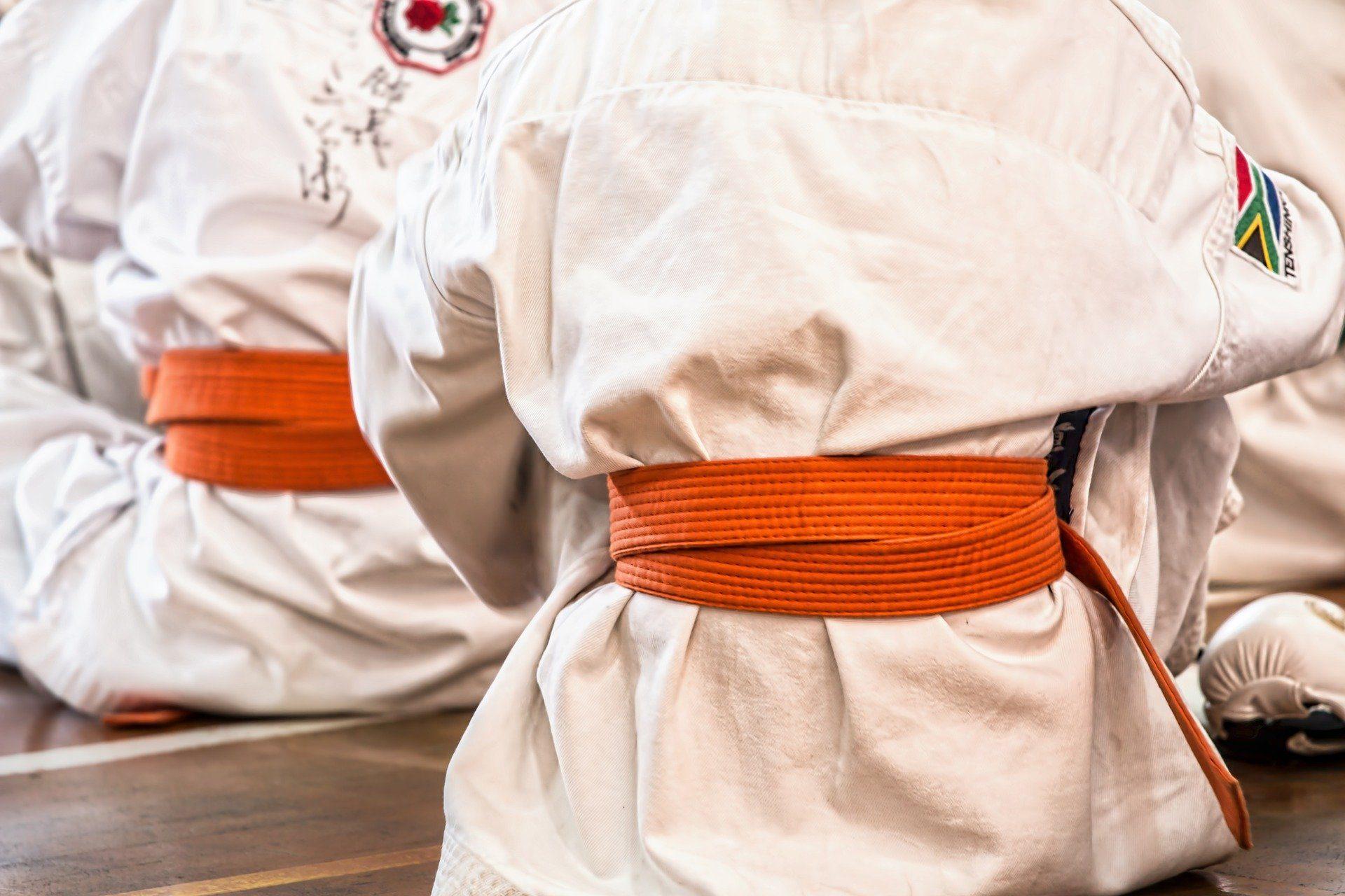 Karate Sportler von hinten, orangener Gürtel